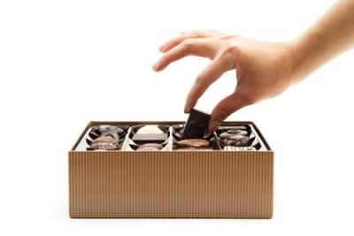 hand picking chocolate, Box of Chocolates
